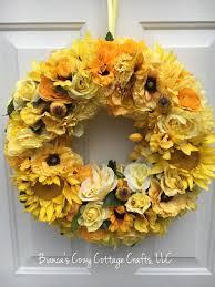 spring wreaths for front door yellow flower wreath floral fall wreath all season wreath