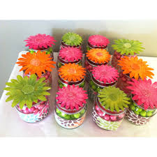 Hobby Lobby Kids Crafts - baby food jars with sixlets wrappers made from scrapbook paper