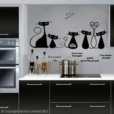 wall art stickers for kitchen home design ideas black cool cats wall decal above a kitchen hob and worksurface part 70