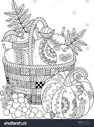 coloring book thanksgiving day basket stock vector 429238372