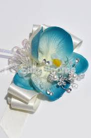 Turquoise Corsage Turquoise Real Touch Orchid Wedding Wrist Corsage W Crystals