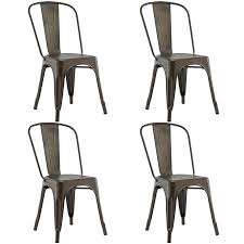 Tolix Bistro Chair Costway Set Of 4 Tolix Style Dining Side Chair Stackable Bistro