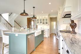 blue kitchen island with oak cabinets green blue kitchen island with beadboard trim cottage