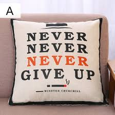 never give up throw pillows with sayings modern minimalist style