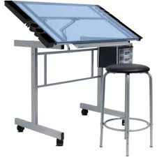 glass drafting table with light studio designs vision 2 piece craft center walmart com