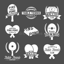 los angeles table tennis club set of ping pong emblems labels badges and designed elements stock