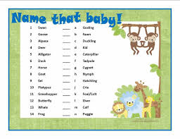 free printable baby shower games baby animals answers baby shower