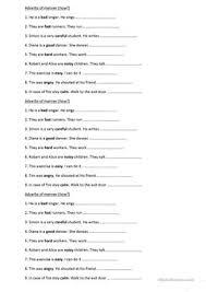20 free esl adverbs of manner worksheets