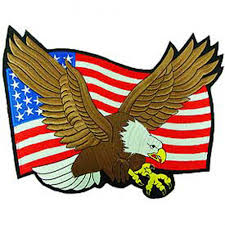 Embroidered American Flag Flying Bald Eagle With American Flag Large Patch Jpg