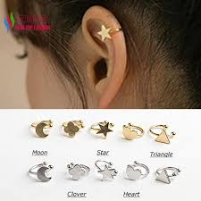 earrings on top of ear new hot fashion sweet korea gold silver copper moon clover