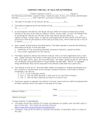 used car bill of sale template and used car sale contract template
