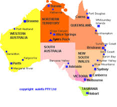 map of australia with cities and states australia