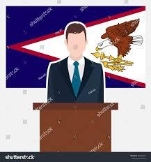 Flag Suit Man Suit Standing Rostrum Front American Stock Vector 337804253