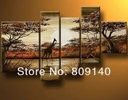 giraffe animal african landscape oil painting canvas modern