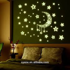 modern wall decor shine moon star 3d glow in the dark wall
