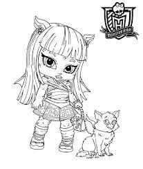 monster high coloring pages clawdeen wolf funycoloring