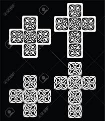 celtic cross set of traditional designs in white on black
