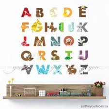 Alphabet Wall Decals For Nursery Alphabet Wall Decal Alphabet Animal Wall Decal Playroom Wall