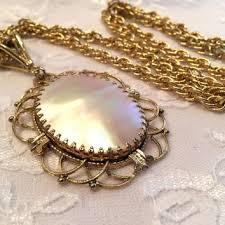 vintage long gold necklace images Vintage whiting and davis mother of pearl from lovingcupvintagekm jpg