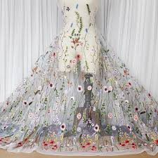 Wedding Dress Fabric Delicate Floral Embroidery Lace Fabric With Colorful Stiching