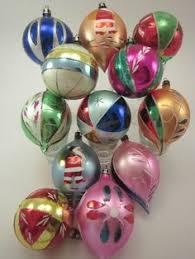 6 vintage poland glass painted box ornaments