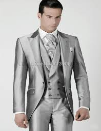 Country Style Wedding Tuxedos Mens Wedding Suits 2016 Silver Prom Groom Tuxedos Jacket Pants