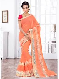 peach color color designer indian latest casual daily wear chiffon saree