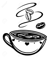 artistic coffee cup with coffee beans royalty free cliparts