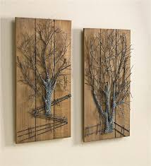 Metal Tree Wall Decor Metal Tree On Wooden Wall Art Set Of 2 New For Winter