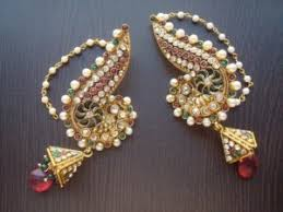 kanphool earrings moti jhumkas earrings exclusive j shaped pearl polki meena new