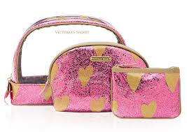 victoria 39 s secret makeup bag trio 38 a trio of sparkly heart decked makeup bags
