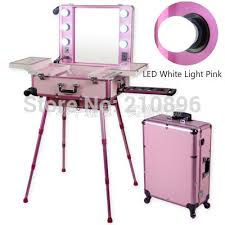 makeup case with lights and mirror led white light pink professional aluminum makeup case with light