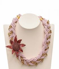 leather flower necklace images Short handmade braided necklace from twisted cord and gold tone jpg