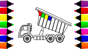 how to draw dump truck coloring pages learn colors for kids with