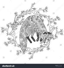 fox hunt coloring page antistress stock vector 391215448