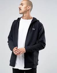 vans vans basic logo zip up hoodie in black v004cvblk