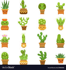 cute plant cute desert plants cactus in pots cartoon vector image
