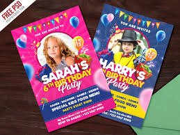 kids birthday party invitation card psd by psd freebies dribbble