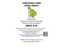 christmas tree haul fundraiser for gwinnett thunder 11u youth