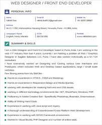 front end developer resume sle front end developer resume 7 exles in word pdf