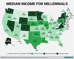State By State Map Of Usa by Millennial Median Wage Map Business Insider