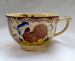 vintage maruta ware turkey thanksgiving cup tea cup coffee cup