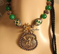 green stone necklace pendant images Krishna pendant necklace set with green stone beads at 2950 azilaa jpg