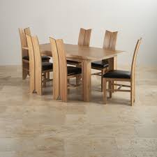 solid oak dining table and 6 chairs tokyo dining set in oak table 6 tulip black leather chairs