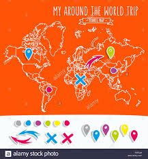 My Travel Map Hand Drawn World Map With Pins And Arrows Vector Design Cartoon
