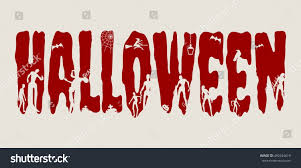 halloween word relative silhouettes on them stock vector 492444619