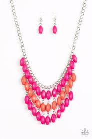 orange bead necklace images Paparazzi quot delhi diva quot pink and orange bead silver necklace jpg