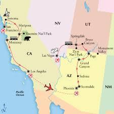 map las vegas and grand 15 day california yosemite grand visit grand