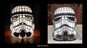 found post stormtrooper helmet table lamp stained glass star