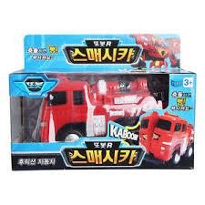 tobot tobot r firetruck smash cars kaboom crash reaction car toy